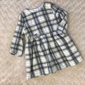 Carter's Plaid Dress Gray Cream Gold 12 Months